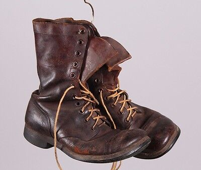 vintage military style old brown leather boots shoes mens made in USA
