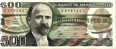 MEXICO,  500 PESOS,  1984,  P-79b,  UNC  BANKNOTE  SOUTH AMERICA