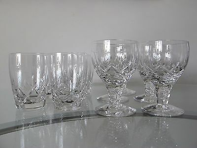 Set of vintage cut lead crystal glass whiskey TUMBLERS and wine/liquor glasses.