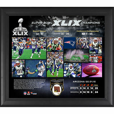 Framed Patriots Super Bowl XLIX Champions Collage w/ Game Used Football -2020299