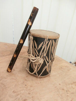 Small Drum & Cane Whistle from India