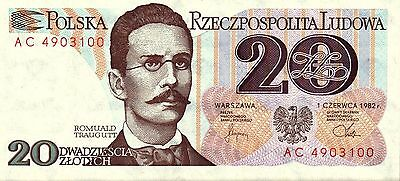 Poland,  20 Zlotych,  1982,  P 149A,  Unc,  Banknote,  Europe
