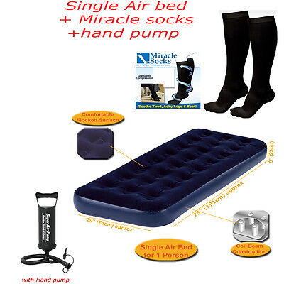 Inflatabl Flocked Single Air Bed Camping Matress With Pump And Free Travel Socks