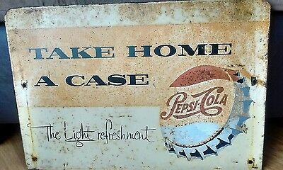 Rare Pepsi-Cola Metal Double-sided Sign Take Home a Case - The Light refreshment