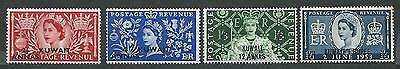 Kuwait # 113-114-115-116 MNH set surcharged - Coronation Issue QE11