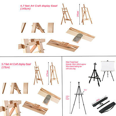 Studio Easel Artist Art Craft Display Easels Pine Wood Wooden Metal