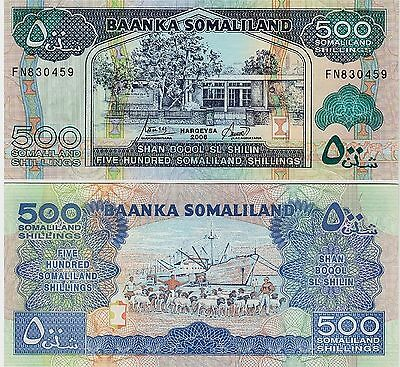 SOMALILAND,  500 Shillings   2006  P-6f   Unc  Banknote  Africa