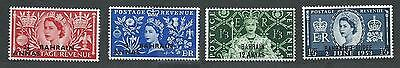 Bahrain # 92-93-94-95 MNH set surcharged - Coronation Issue