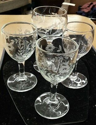 "Set of 4 Crystal Cordual/Port Glasses. (3)-4.5"" and (1)- 5"""