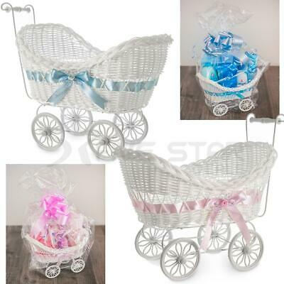 Large Wicker Basket Pram Gift Hamper Girls Boys New Born Baby Shower Party