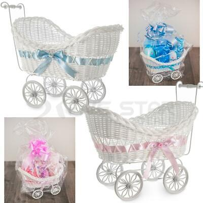 Large Wicker Pram Basket Gift Hamper Girls Boys New Born Baby Shower Party