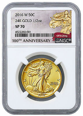 2016-W 1/2 oz. Gold Walking Liberty Half Centennial NGC SP70 (100th) SKU45305