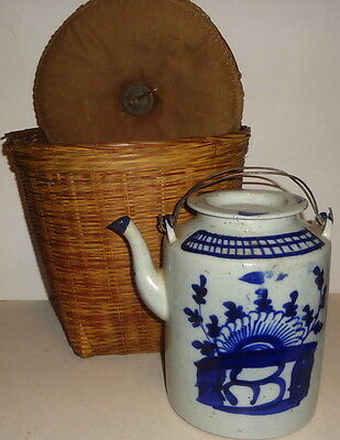 Rare EARLY CHINESE CANTON brush stroke TALL TEAPOT in WOVEN BASKET WARMER-CH'ING
