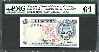 Singapore, Board of Commerce of Currency, 1 dollar, (1972), P-1d, PMG UNC 64