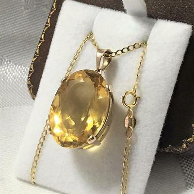 """Vintage 9ct 375 GOLD Citrine Natural Large Necklace Chunky Mount 16"""" Chain 8.6g"""