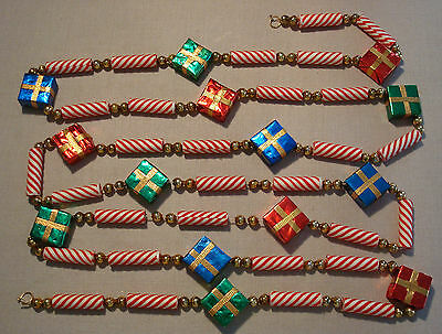 """Vintage Christmas Tree Garland Peppermint Sticks Gifts Beads 9ft 9"""""""