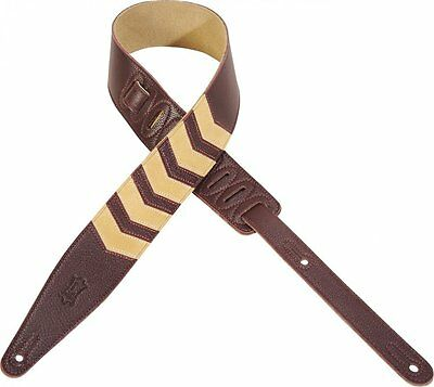 """Levy's MG317CV-BRG 2 1/2"""" soft garment leather guitar strap with chevron inlay a"""