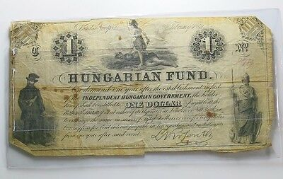 Antique 1852 $1 Dollar Hungarian Fund Obsolete Note #6204
