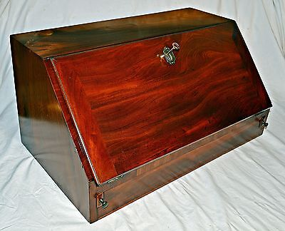 George III Flamed Mahogany Table Top Bureau with Secret Drawers and Key