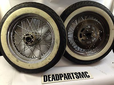 Harley softail pre-2000 front rear white wall spoke rims tires