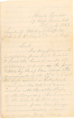 Union Officer Commission and Field Report from 17th CT Regiment at Gettysburg