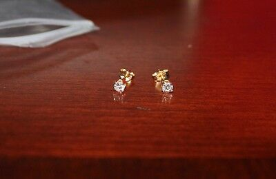 14k Yellow Gold Diamond Stud Post Earrings Small but Sparkly