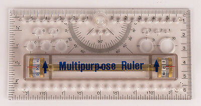 Vintage Novatec Multipurpose Ruler / Drafting Tool - Clear Plastic  5""