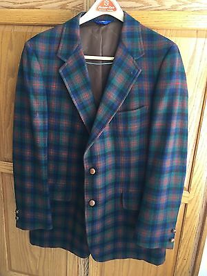COUNTRY TRADITIONALS BY PENDLETON mens 44 wool plaid blazer coat suit jacket VTG