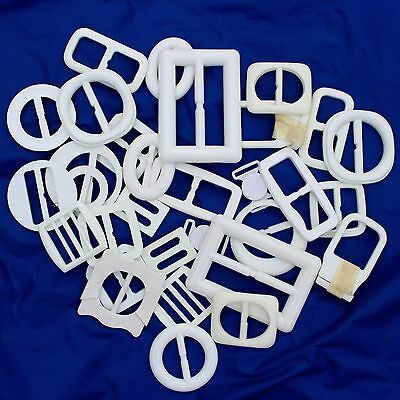 30 Vintage  Belt Buckles White Plastic Various Sizes & Shapes New Old Stock
