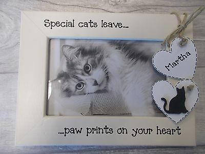Personalised Cat Pet Photo Frame 6X4 5X7 8X6 10X8 ANY WORDING