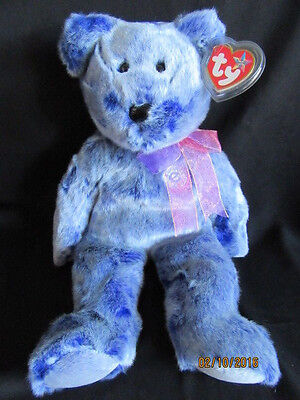 Ty Beanie Buddy Bear Periwinkle - Retired With Tag