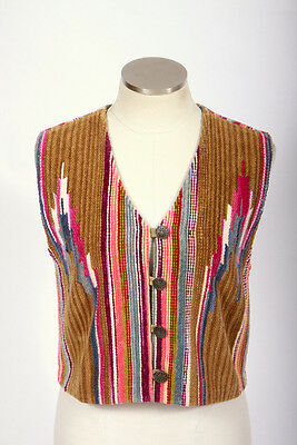 Vintage 70s Retro Multi Color Corduroy Southwest Stripe Sleeveless Jacket Vest S