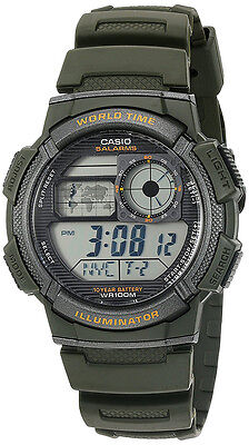 Casio Men's World Time 100m 10-Yr Battery Life Green Resin Watch AE1000W-3AV