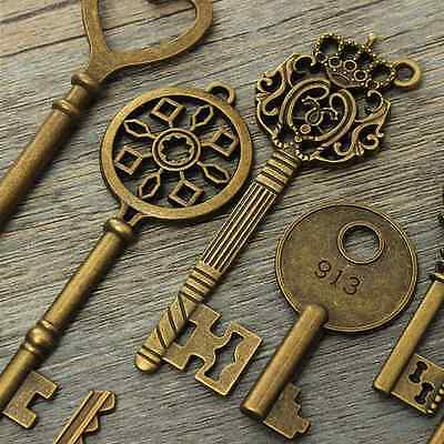 12pcs Vintage old brass looking keys Charms Accessories Antique steampunk