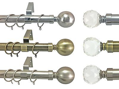 28mm Diameter Metal Curtain Pole Ball Finial Polished & Brushed Chrome Brass