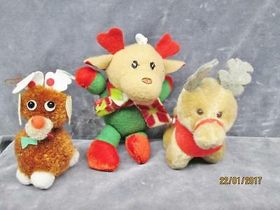 3 VINTAGE BROWN PLUSH REINDEERS McDONALDS HUGFUN CHRISTMAS ORNAMENT