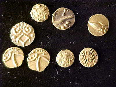 India Gold Fanams, Lot Of Eight Coins, Average Circulated