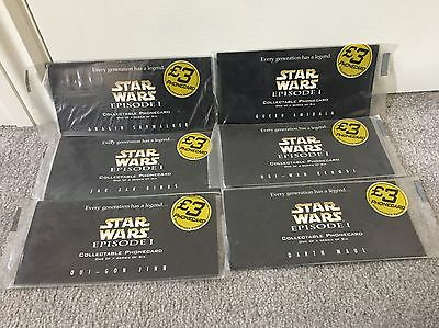 Star Wars: Episode 1 Collectible Phonecards 1-6 Darth Maul,obi, Unused /New RARE