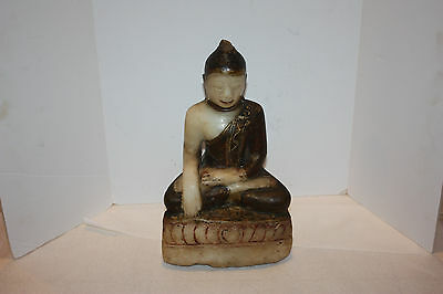 Large 19th Century Carved Alabaster Buddha Statue Figure Burmese Burma ±11.5""