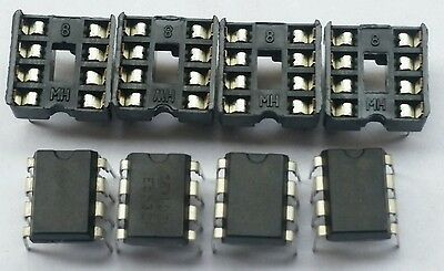 4 pcs NE5532 Low noise OP Amp for Audio and 4  Dip-8 Sockets  USA seller***