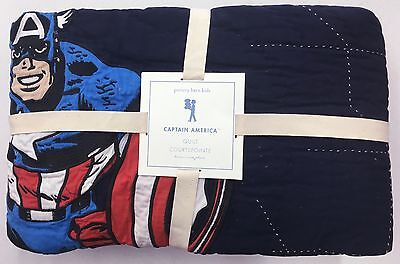 POTTERY BARN KIDS Captain America Marvel TWIN Quilt, Superheroes, BRAND NEW