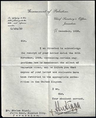 Palestine 1939 Government Of Palestine Letterhead & Letter From British Chief