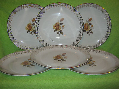 Vintage J&G Meakin Rare '' Yellow Rose '' Heavily Gilded 6 x Dinner Plates 25 cm