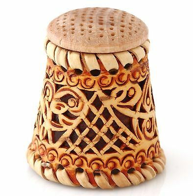 Rare Handmade Limited Edition Russian Birch Bark Wood Wooden Collectible Thimble