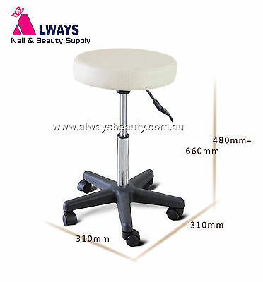 SALON CUTTING STOOL GAS LIFT STRONG WHEELS BEAUTY CHAIR White