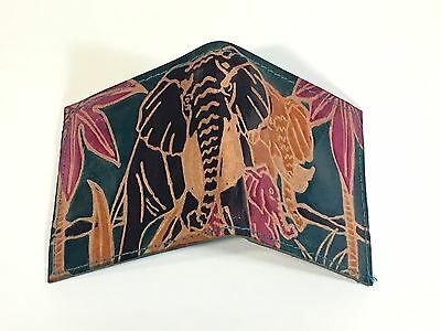 Vintage colorful teal etched leather African Elephant theme wallet w/coin pocket