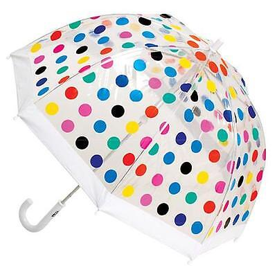 Clifton Brand Childrens/kids Transparent Pvc Umbrella With Multi Coloured Spots