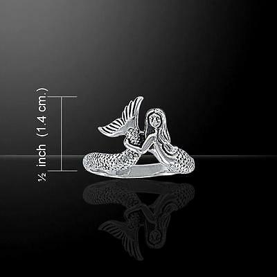 Graceful Mermaid with flowing tail Sterling Silver Ring - Size Select