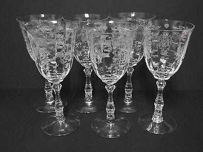 6 Matching Navarre  6016 Wilma Tall Water Goblets / Fostoria Glass Co
