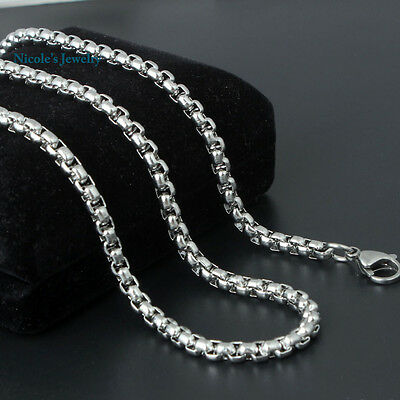 Super Cool 3mm Mens 316L Stainless Steel Box Chain Cylinder Chain Necklace